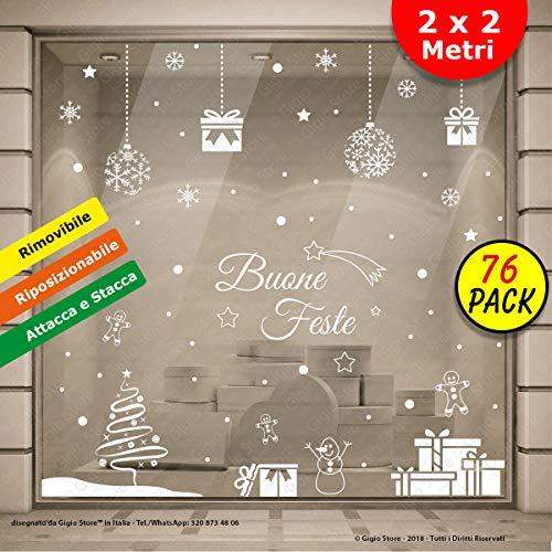Gigio Store Vetrofanie Natalizie 2.00x2.00 Metri Rimovibile e Riposizionabile Adesivi Natalizi vetrine Negozi Sticker Decorativi di Natale Vetro