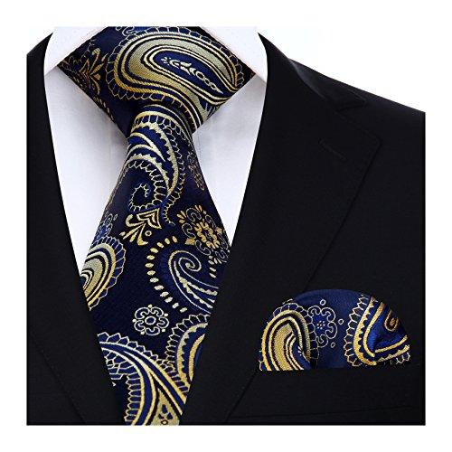 HISDERN Extra lange Blumen Paisley Krawatte Taschentuch Herren Krawatte & Einstecktuch Set Gold und Dunkelblau