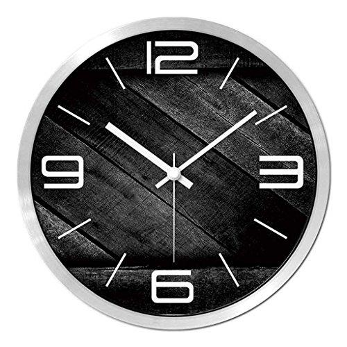 Horloges Montres Quartz Bois Grain Retro Sweep Métallique Murale Rondes et Secondes Silencieux Silencieux Convient pour Chambre et Salon (Color : Black-C, Size : 30.5cm(12inch))