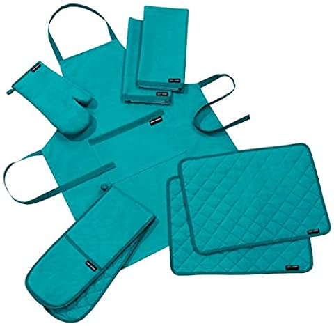 Plain And Simple Kitchen Textile Range Lapiz Blue 5 Piece Set Consists Of One Apron, Double Oven Glove, Oven Mitt, A Pack Of 2 Placemats And A Pack Of 2 Tea-Towels.