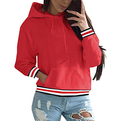 Donna Varsity Strisce Top Jumper Hooded Sweatshirt Maglie a Manica Lunga Felpe con Cappuccio Autunno Pullover con Tasca Hoodie Rosso