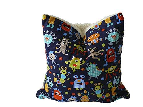 nbezug Monster, Öko-Teddy, Monsterdruck, weiß, bunt, 50x50cm auch in anderen Größen verfügbar ()