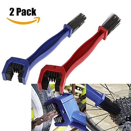 Luniquz Ketten Reinigungsbürste kettenbürste Sauberen Bürste zur Reinigung von Motorrad-, Fahrrad- oder Rollerketten (2pcs Blau&Rot)