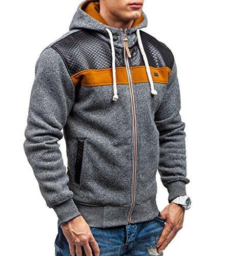 BOLF – Felpa con cappuccio – Sweat-shirt – Con cerniera – CRWS DNM 3557 – Uomo Anthracite