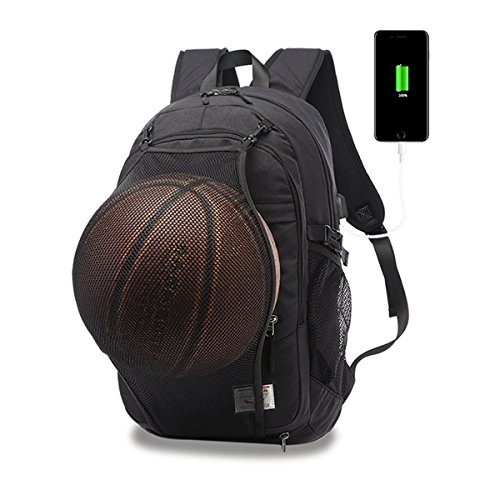 Basketball-telefon (Casual Laptop Rucksack College Rucksack mit Basketball Nets Kopfh?rer Port & USB Ladeport Sporttasche Schultasche Bookbag Travel Daypack passt 15,6 Zoll Laptop Notebook(Schwarz))