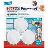 tesa selbstklebende Haken, bis 1kg, wieder ablösbar, rund, weiß, 3 Stück