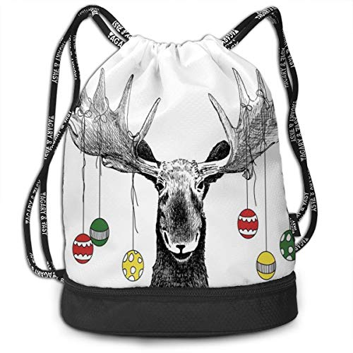 LULABE Printed Drawstring Backpacks Bags,Christmas Moose with Xmas Ornaments Balls Hanging from Horns Funny Noel Sketch Art,Adjustable String Closure