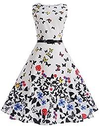 Mujer Vestidos Años 50 Vintage Audrey Hepburn Mariposa Impresión Lindo Chic Vestidos De Fiesta Elegantes Sin