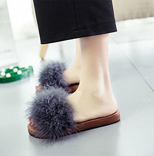 sandales femmes sandales plates occasionnels mot glisser Mme plage sauvage chaussures à bout ouvert deep grey