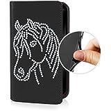 Für Apple iPhone --- X --- eSPee Hülle Schutzhülle Wallet Flip Case Schwarz mit Swarovski® Kristallen Pferd Peferdekopf UNZERBRECHLICHER Silikon Schale / Bumper Magnetverschluß