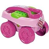 Handwagen, rosa, Bausteinen, 40 teiliges Set, ab 12 Monaten - Abrick Kinder Hand Wagen mit Bausteinen Spielzeug Transport Wagen Ziehwagen Set