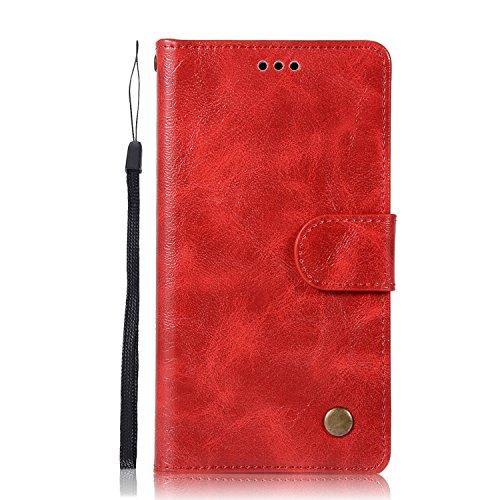 Chreey Alcatel Pixi 4 (5.0) Hülle, Premium Handyhülle Tasche Leder Flip Case Brieftasche Etui Schutzhülle Ledertasche, Rot