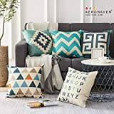 AEROHAVEN Set of 5 Cotton Abstract Designer Decorative Throw Pillow/Cushion Covers - 16 x 16 inches