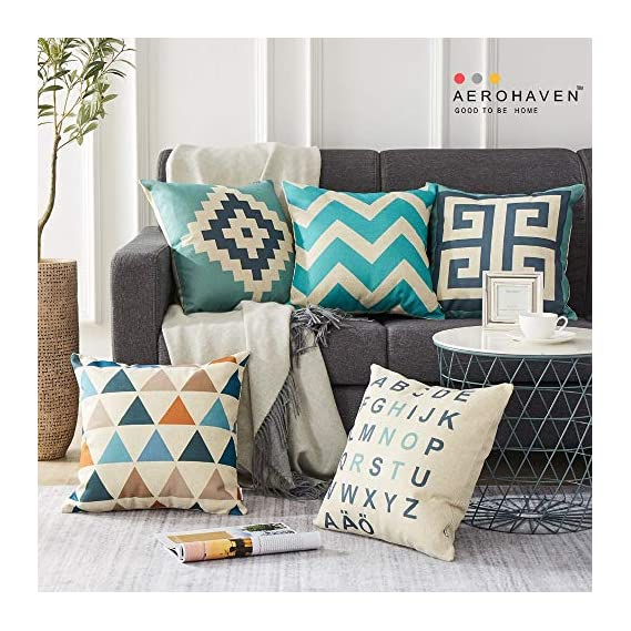 AEROHAVENTM Set of 5 Cotton Abstract Designer Decorative Throw Pillow/Cushion Covers - 16 x 16 inches