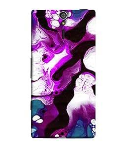 FUSON Designer Back Case Cover for Sony Xperia SL :: Sony Xperia S :: Sony Xperia SL LT26I LT26ii (Purple Painting Wallpaper White Iceberg River Flow)