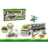 AKDSteel Dinosaur Model Large Container Truck Dinosaur Transport Vehicle Kid Toys (Super Volume 58x10x30CM)