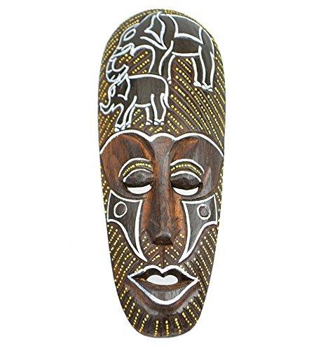 Máscara africano (madera, 30cm), diseño de elefantes.