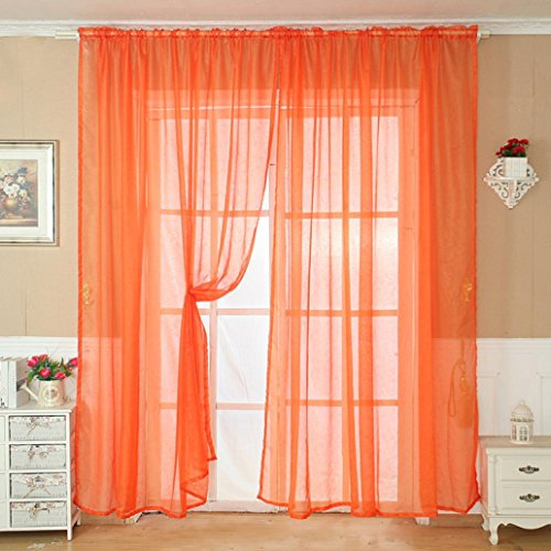 DOLDOA Color sólido de tul de la ventana de la puerta Cortina...