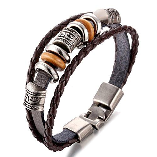 Jstyle Lederarmband Armkette Armreif Handgemachte flechte Lederkette Damenband mit Gravur Kette Band Leder Kette für Damen 19cm