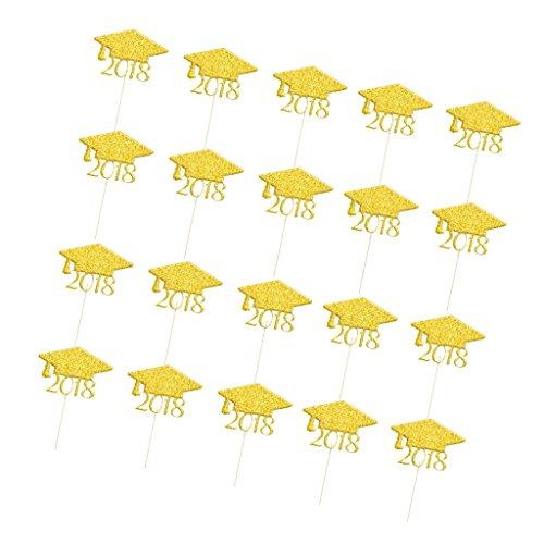 (MagiDeal 20x Cake Topper - Kuchen Deko - Graduation Cap Muster - Party Dekoration für Graduation Abschlussfeier Party - Gold, 8 x 5.3cm)