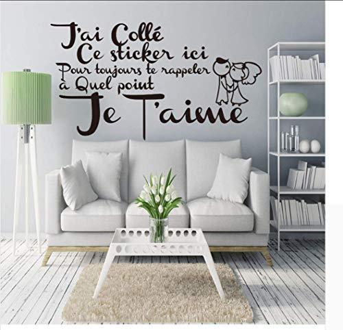 YYKFXL Wandtattoo Wandsticker Wandaufkleber,Französisch Citation Amour Vinyl Wandaufkleber Abziehbilder Wandbild Kunst Tapete Für Wohnzimmer Wohnkultur Haus Dekoration -