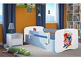 Kocot Kids Kinderbett Jugendbett 70x140 80x160 80x180 Blau mit Rausfallschutz Matratze Schublade und Lattenrost Kinderbetten für Junge - Bimmelbahn 160 cm