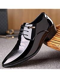 HYLM Nuevos Hombres De Negocios De Vestido De Cuero De Zapatos De Patentes De Cuero De Vestido De Boda Partido De Los Zapatos , 41 , black