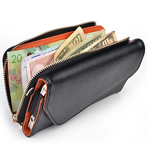 Kroo d'embrayage portefeuille avec dragonne et sangle bandoulière pour Blu Life View Black and Green Black and Orange