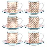Nicola Spring Gemustertes Espresso Tasse und Untertasse Set - 65 ml - Orange/Blau Aufdruck - 6er Packung