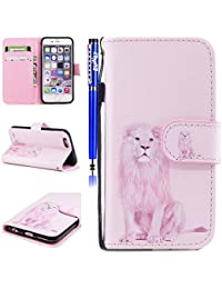 EUWLY iPhone 6/6S Leather Case,Panda Lion Animal Colorful Painting Patterns PU Leather Bookstyle Wallet Case Magnetic Closure with Stand Function [Anti-scratch] [Ultra-slim] PU Leather Wallet Flip Cover Sleeve Card Slot and Banknotes Pocket with Hand Strap Lanyard for iPhone 6/6S + 1 x Blue Stylus Pen - Pink Lion