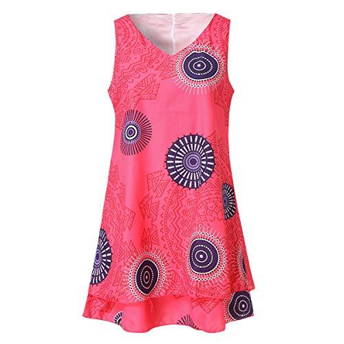 B-commerce Damen Plus Size Geometric Print Ärmelloses T-Shirt - Lose Shift Tank Weste Crop Tops Sun Kurzes Midikleid Sommer T-Shirt