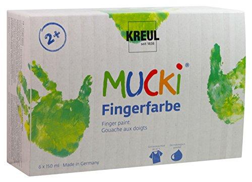 Kreul 2316 - Mucki leuchtkräftige Fingerfarbe, parabenfrei, glutenfrei, laktosefrei und vegan, auswaschbar, vermalbar mit Pinsel und Fingern, 6 x 150 ml in gelb, rot, blau, grün, weiß und schwarz - Pinsel Finger,