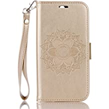 Funda HTC One M8 Case , Ecoway Mandala patrón en relieve PU Leather Cuero Suave Cover Con Flip Case TPU Gel Silicona,Cierre Magnético,Función de Soporte,Billetera con Tapa para Tarjetas ,Carcasa Para HTC One M8 - dorado