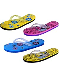 IndiStar Womens Rubber Printed Hawaii Slipper House Flip Flop(Pack Of 4)