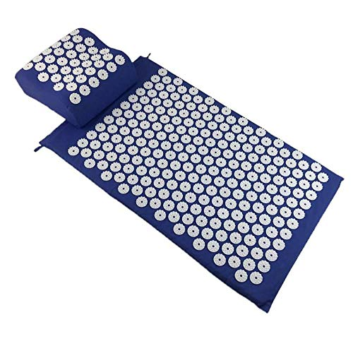 PDDXBB Yoga Spike-Matte Rücken Körper Kissen Massagegerät Kissen Akupunktur Pad Matte Schmerz Lindern Spike Yoga Matte Mit Kissen Blau 68 * 42Cm -