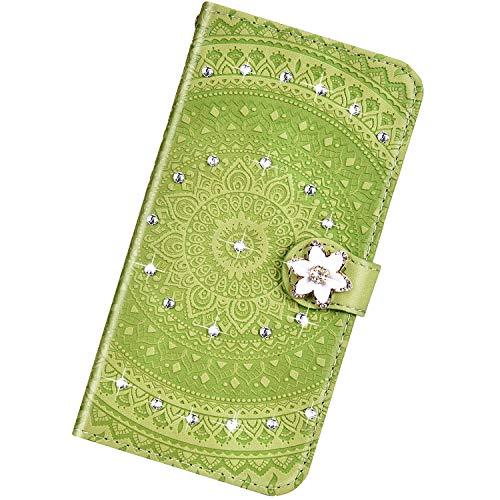 Urhause Kompatibel mit Samsung Galaxy S9 Plus,Mandala Prägung Glitzer Ledertasche PU Flipcase Handytasche Ständer Mit Magnetverschluss Schlüsselband Schutzhülle,Gras-Grün