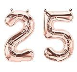 Folienballon / Zahlenballon Set 10-100 Rose Gold - 40 cm Freie Zahlwahl - partydiscount24® (Zahl - 25)