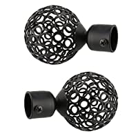 Baoblaze Pair 22mm Inner Dia. Drapery Curtain Panel Rod Pole End Caps Curtain Blind Accessories Finials for Window Decoration, 3 Styles - 3# Black, as described