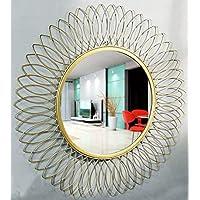 Furnish Craft Modern Sunflower Design Iron Decorative Wall Mirror for Living Room (21 x 21-inch/Small, Golden)