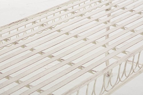 CLP Gartenbank SHERAB, Chaiselongue Sitzbank Eisen lackiert, ca. 125 x 45 cm, Höhe 65 cm, Design Landhaus antik Antik Creme - 6