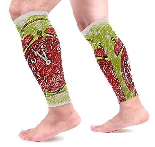 Wfispiy Online Alarm Clock Wadenkompressions-Ärmel 1 Pair, Leg Performance Support for Shin Splint Calf Pain Relief Men & Women Guards Sleeves for Running Cycling -
