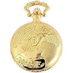 Dawn Pocket Watch Quartz White Gold Eagle Hawk Falcon Bird Metal Fob Watch