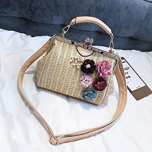 Frauen-Perlen-Handtaschen-populäre weibliche Sommer-Blumen-Strohbeutel-Dame Shoulder Bag Travel Beach Woven Crossbody Khaki -