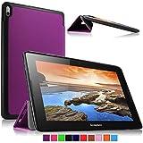 Infiland Lenovo A10-70 Funda Case-Ultra Delgada Tri-Fold Smart Case Cover PU Cuero Smart Cascara con Soporte para Lenovo IdeaTab A10-70 25,7 cm (10,1 Pulgadas) Tablet(Púrpura)