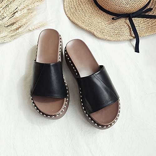 Flipflopsandelholze Damen Sandalen hochhackige dicke Sandalen stilvoll ( Farbe : Braun , größe : EU36/UK3.5/CN35 ) Schwarz