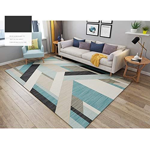CJW Schlafzimmerteppich Haushaltsteppich Moderner minimalistischer nordischer geometrischer Teppich Wohnzimmer-Teppich (Color : E, Größe : 2.6'X5.2') -