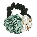 #2: Sunward Women's Rose Flower Pearl Beads Elastic Hair Rope Band Scrunchie Ponytail Holder