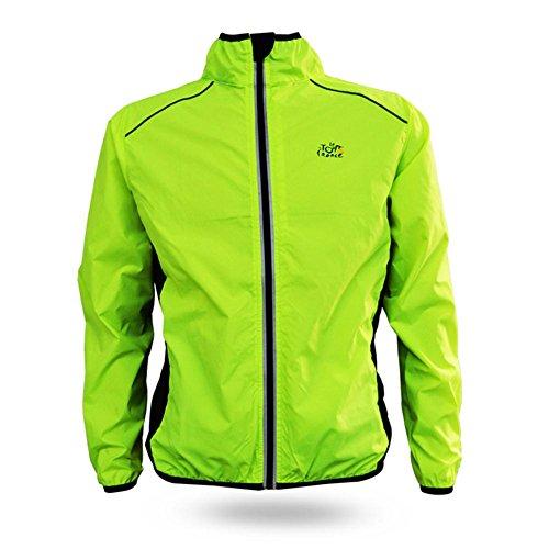 Schnelltrockend Herren-Sportjacke, atmungsaktiv, Regenjacke, Rain Coat Cycle Bike Fahrrad- Kleidung, Winddicht, mit Langen Ärmeln, Jersey für Radfahren (XXXL, Grün)