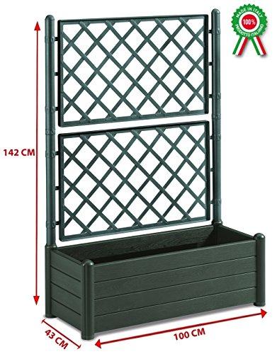 Fioriera rettangolare con grata porta vaso separè divisorio in dura resina plastica verde
