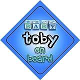 Panneau fantaisie pour voiture avec inscription «Baby Boy Toby on board», cadeau pour nouveau-né